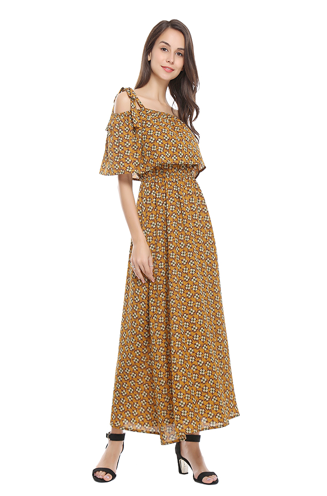 1abd8f7282 JTANIB Women's Boho Cold Off Shoulder Floral Print Maxi Dress(TB-1195)