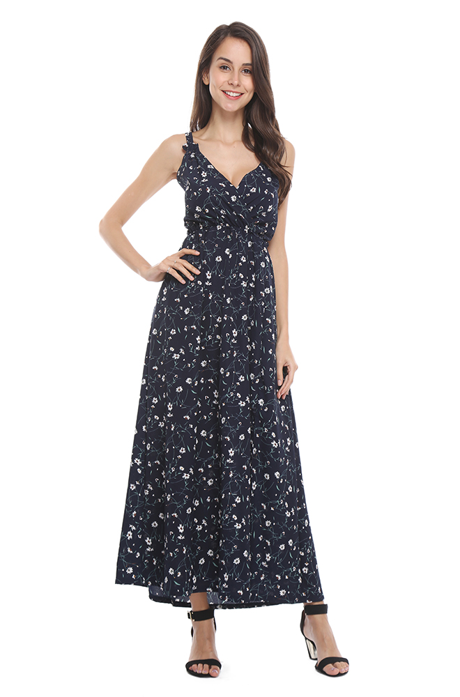 70a0241b726e JTANIB Women's Sexy V Neck Sleeveless Backless Floral Print Maxi Dress (TB-1180)